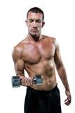 Atleta senza camicia sicuro che risolve con la testa di legno Fotografia Stock Libera da Diritti