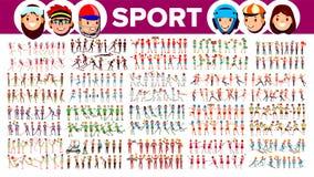 Atleta Set Vetora Homem, mulher Grupo de povos dos esportes no uniforme, fato Caráter do desportista na ação do jogo liso ilustração do vetor