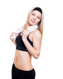 Atleta sottile su un fondo bianco Fotografia Stock