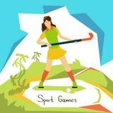 Atleta Sport Competition de la mujer del jugador de hockey hierba Imagenes de archivo