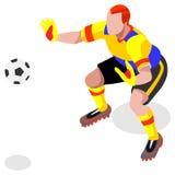 Atleta Sports Icon Set del jugador del portero del fútbol partido de fútbol y jugadores isométricos del campo 3D Competencia inte Ilustración del Vector