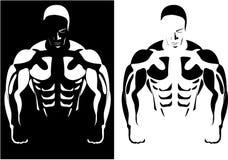 Atleta sui precedenti in bianco e nero Immagini Stock Libere da Diritti