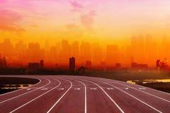 Atleta Track o pista corrente con la vista posteriore piacevole Fotografia Stock