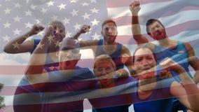 Atletas americanos que celebran metrajes