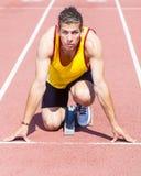 Atletas antes do começo da raça imagens de stock royalty free