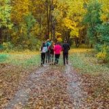 Atletas corrientes en el parque en un funcionamiento en la madrugada Varios niños están corriendo en el bosque que hace deportes Fotos de archivo libres de regalías