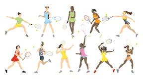 Atletas do tênis ajustados ilustração royalty free