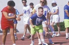 Atletas dos Jogos Paralímpicos na linha do começo fotografia de stock
