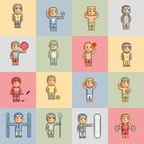 Atletas engraçados do fundo colorido do pixel Imagem de Stock