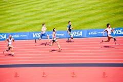Atletas lisiados en el estadio olímpico de Londres Fotografía de archivo libre de regalías