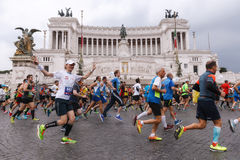 Atletas que participam na 2á maratona em Roma Fotos de Stock Royalty Free