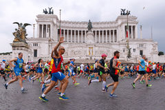 Atletas que participam na 2á maratona em Roma Fotografia de Stock