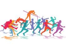 Atleten in actie Stock Foto