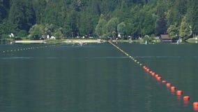 Atleten die op een mooi meer, teams roeien die aan boot-rent deelnemen stock video