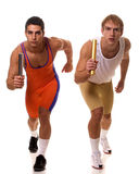 Atleten die Relais rennen Royalty-vrije Stock Foto