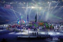 Atleten en uitvoerders bij Rio2016-het sluiten ceremonies royalty-vrije stock afbeeldingen