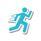 Atleten lopend silhouet geïsoleerd pictogram Royalty-vrije Stock Fotografie