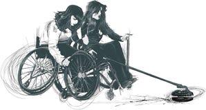 Atleten met fysieke handicaps die - KRULLEN royalty-vrije illustratie