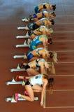 Atleten op het begin Stock Afbeelding
