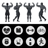 Atleten, sportenpictogrammen, fitness, oefening Vector illustratie Royalty-vrije Stock Foto