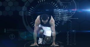 Atletenmens die van het startblok lopen stock videobeelden