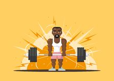 Athlete doing deadlift. Strong man athlete doing deadlift excercise in gym. Gym workout concept. Flat style character design royalty free illustration