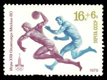 Atleti che giocano pallamano fotografia stock libera da diritti
