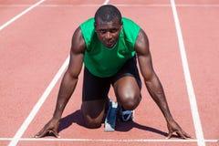 Atleti prima dell'inizio della corsa Fotografia Stock