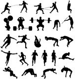Atletic silhouettes collection Stock Photography