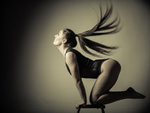 Atletic woman fit slim body posing Royalty Free Stock Images