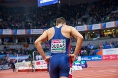 Atletica - Mihail Dudas; Heptathlon dell'uomo, 1000m Immagine Stock