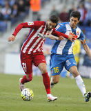 Atletico马德里的扬妮克费雷拉卡拉斯科和Javi RCD Espanyol卢佩茨  图库摄影