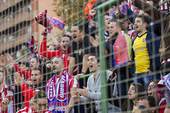 Atletico de Madrid supporters. Atletico unidentified supporters at Spanish Cup match between Sant Andreu and Atletico de Madrid, final score 0-4, on December 7 Royalty Free Stock Image