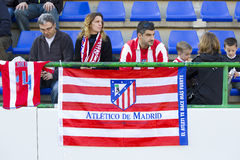 Atletico de Madrid supporters. Atletico unidentified supporters at Spanish Cup match between Sant Andreu and Atletico de Madrid, final score 0-4, on December 7 Royalty Free Stock Photo