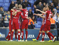 Atletico Madrid players celebrating goal Stock Image