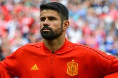 Atletico Madrid and Spain national football team striker Diego Costa. Moscow, Russia - July 1, 2018. Spain national football team striker Diego Costa before FIFA royalty free stock photography