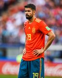 Atletico Madrid and Spain national football team striker Diego Costa. Moscow, Russia - July 1, 2018. Spain national football team striker Diego Costa during FIFA royalty free stock photos