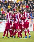 Atleticode Madrid doel Stock Foto's