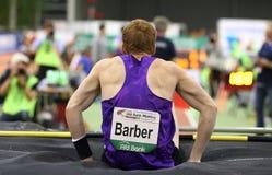 Atletics interior, peluquero de Shawnacy del canadiense Salto con pértiga, campeón del mundo Imagen de archivo libre de regalías