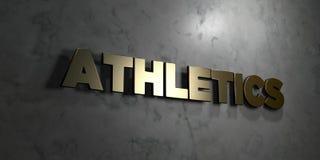 Atletiek - Gouden tekst op zwarte achtergrond - 3D teruggegeven royalty vrij voorraadbeeld stock illustratie