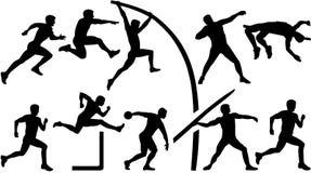 Atletiek vastgestelde tienkamp royalty-vrije illustratie
