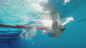 Atletisch mens het zwemmen vrij slag die dan tikdraai doen stock videobeelden
