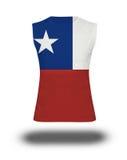 Atletisch sleeveless overhemd met de vlag van Chili op witte achtergrond en schaduw Stock Foto