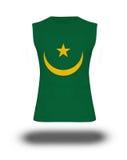 Atletisch sleeveless overhemd met de vlag van Mauretanië op witte achtergrond en schaduw Royalty-vrije Stock Fotografie