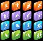 Atletische 3D Vierkante Glanzende Knopen Stock Foto's
