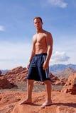 Atletische jonge mens stock foto's