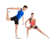 Atletische man en vrouw Stock Foto's
