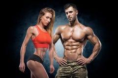 Atletische man en vrouw Geschiktheidspaar royalty-vrije stock afbeelding
