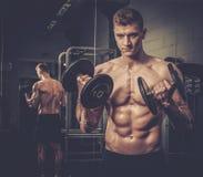 Atletische mens die oefeningen met domoren in de Studio van de Gymnastiek doen Stock Foto's