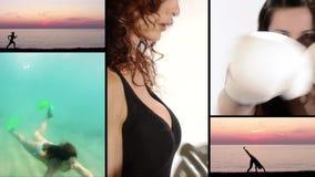 Atletische vrouwen, collage stock footage